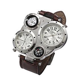 cheap Sport Watches-Men's Wrist Watch Quartz Leather Black Casual Watch Analog Charm - Coffee Blue Dark Brown / Stainless Steel