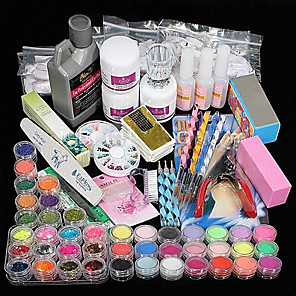 cheap LED Solar Lights-42 pcs Acrylic Powder Glitter Nail Art Kit Professional DIY At Home Basic Acrylic Nail Art Tools Nail DIY Decoration Acrylic Nail Art Kit for Finger Nail Kit Nail Art Decoration Tools