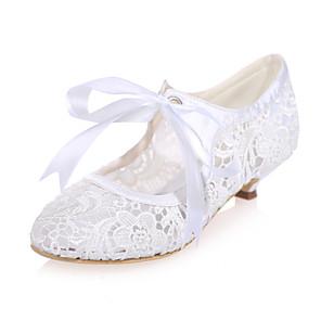 cheap Wedding Shoes-Women's Heels Mesh Low Heel Knit Comfort Spring / Summer Pink / White / Black / Wedding / Party & Evening / EU37