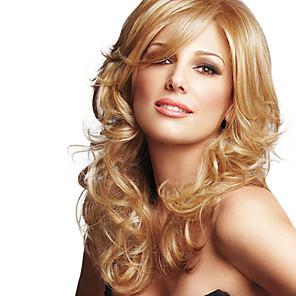 cheap Synthetic Trendy Wigs-Human Hair Wig Wavy Wavy Capless Dark Brown / Dark Auburn Beige Blonde / Bleach Blonde Chestnut Brown