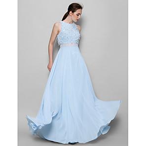 cheap Evening Dresses-A-Line Jewel Neck Floor Length Chiffon Bridesmaid Dress with Beading / Sequin / Sparkle & Shine