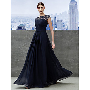 cheap Wedding Slips-A-Line Empire Wedding Guest Formal Evening Dress Boat Neck Short Sleeve Floor Length Georgette with Ruched Lace Insert 2020