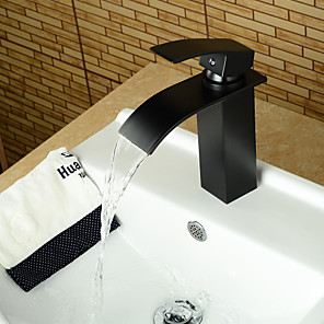 cheap Bathroom Sink Faucets-Matte Black Modern Style Oil-rubbed Bronze Single Handle Single Hole Hot and Cold Water Bathroom Sink Faucet