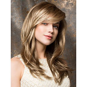 cheap Synthetic Lace Wigs-Synthetic Wig Straight Straight Wig Blonde Medium Length Synthetic Hair 18 inch Blonde