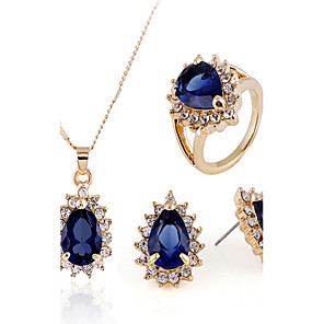 cheap Men's Oxfords-Sapphire Jewelry Set Stud Earrings Pendant Necklace Pear Cut Ladies Vintage Party Work Fashion Cubic Zirconia Earrings Jewelry Gold / Royal Blue For Wedding Party Special Occasion Anniversary