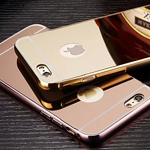 cheap iPhone Cases-Case For Apple Plating / Mirror Back Cover Solid Colored Hard Metal