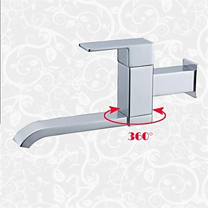 cheap Bathroom Sink Faucets-Contemporary Wall Mounted Rotatable Ceramic Valve Single Handle One Hole Chrome, Bathroom Sink Faucet