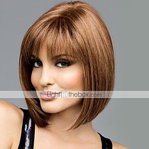 cheap Synthetic Lace Wigs-Human Hair Wig Short Straight Bob Short Hairstyles 2020 With Bangs Straight Short Middle Part Capless Women's Light Auburn Medium Brown / Light Blonde Beige Blonde / Bleached Blonde