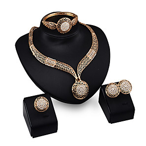 cheap Jewelry Sets-Women's Jewelry Set Bracelet / Earrings / Necklace - Cuff / Vintage / Party Gold Jewelry Set For