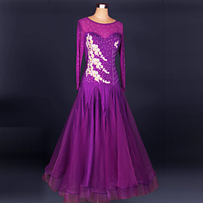 cheap Dancewear-Ballroom Dance Dress Crystals / Rhinestones Women's Performance Long Sleeve Chinlon Crepe