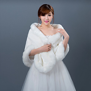cheap Wedding Wraps-Sleeveless Shawls Faux Fur Wedding Wedding  Wraps / Fur Wraps With Smooth / Fur