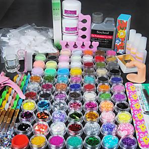 cheap Makeup Brush Sets-48 pcs Acrylic Nail Kits Lovely Nail Art Kit Nail Cleaning Tools Nail Acrylic Brush for Finger Toe Other