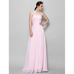 cheap Bridesmaid Dresses-A-Line Strapless Floor Length Chiffon Bridesmaid Dress with Criss Cross