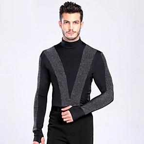 cheap Latin Dancewear-Latin Dance Top Buttons Men's Training Performance Long Sleeve Spandex