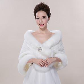 cheap Wedding Wraps-Sleeveless Shawls Faux Fur Wedding / Party Evening / Casual Wedding  Wraps / Fur Wraps With Smooth / Fur