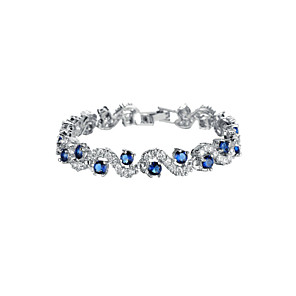 cheap Rings-Women's Blue Green White AAA Cubic Zirconia Chain Alloy Bracelet Jewelry Green / Blue / Silver For Wedding Party Special Occasion Anniversary Birthday Gift / Daily / Casual / Engagement