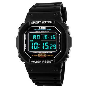 cheap Sport Watches-SKMEI Men's Sport Watch Wrist Watch Digital Quilted PU Leather Black 50 m Water Resistant / Waterproof Alarm Calendar / date / day Digital Black Orange Blue Two Years Battery Life / Chronograph