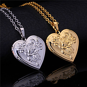 cheap Pendant Necklaces-Women's Pendant Engraved Princess Heart Best Friends Friendship Ladies Sister Gold Plated Silver-Plated Alloy Gold Silver Necklace Jewelry For Wedding Party Special Occasion Anniversary Birthday Gift