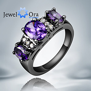 cheap Rings-Women's Band Ring Cubic Zirconia Purple Screen Color Cubic Zirconia Gold Plated Fashion Party Jewelry