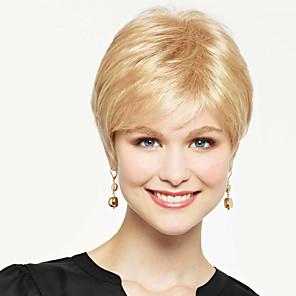 cheap Synthetic Trendy Wigs-Human Hair Blend Wig Straight Short Hairstyles 2020 Straight Capless Strawberry Blonde / Bleach Blonde Beige Blonde / Bleach Blonde Auburn Brown / Bleach Blonde