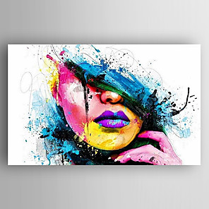 cheap Abstract Paintings-Oil Painting Hand Painted - People Modern Stretched Canvas