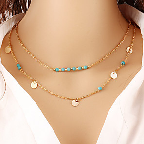 cheap Bluetooth Car Kit/Hands-free-Women's Turquoise Necklace Layered Double Cheap Ladies Vintage Casual Fashion Brass Turquoise Gold Silver Necklace Jewelry For Special Occasion Birthday Gift