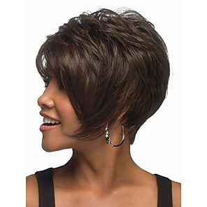 cheap Synthetic Trendy Wigs-Synthetic Wig Wavy Wavy Wig Short Natural Black Synthetic Hair Women's Brown