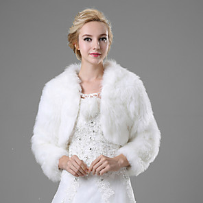 cheap Wedding Wraps-Shrugs Faux Fur Wedding / Party Evening / Casual Fur Coats With