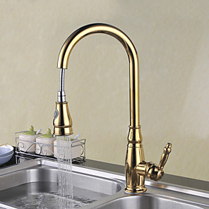 cheap Kitchen Faucets-Kitchen faucet - Single Handle One Hole Ti-PVD Pull-out / ­Pull-down / Tall / ­High Arc Deck Mounted Traditional Kitchen Taps
