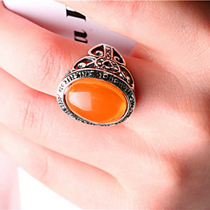 cheap Jewelry Sets-Women's Statement Ring thumb ring Citrine Orange Green Silver Plated Ladies Unusual Asian Party Jewelry Artisan