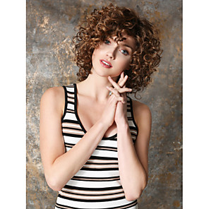 cheap Synthetic Trendy Wigs-Synthetic Wig Curly Kinky Curly Kinky Curly Curly Wig Short Brown Synthetic Hair Women's Brown
