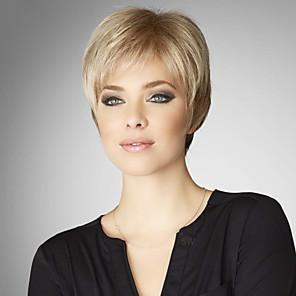 cheap Synthetic Trendy Wigs-Human Hair Blend Wig Straight Short Hairstyles 2020 Straight Capless Dark Brown / Dark Auburn Strawberry Blonde / Bleach Blonde Beige Blonde / Bleach Blonde