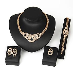 cheap Jewelry Sets-Women's Alloy Golden Crystal Neclace & Earrings&Bracelet Jewelry Set for Wedding Party