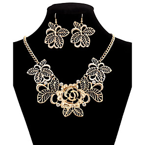 cheap Jewelry Sets-Synthetic Diamond Jewelry Set Hollow Out Flower Statement Luxury Vintage Party Work Casual Cubic Zirconia Imitation Diamond Earrings Jewelry Gold For Party Special Occasion Anniversary Birthday Gift