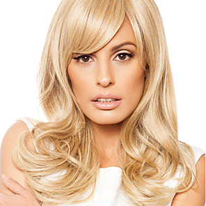 cheap Synthetic Trendy Wigs-Human Hair Wig Wavy Wavy Capless Dark Brown / Dark Auburn Beige Blonde / Bleach Blonde Dark Brown