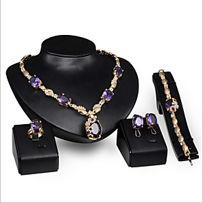 cheap Jewelry Sets-Women's Synthetic Amethyst Jewelry Set Ladies Rhinestone Earrings Jewelry Purple For Wedding Party Special Occasion Anniversary Birthday Gift / Rings / Daily / Necklace / Engagement