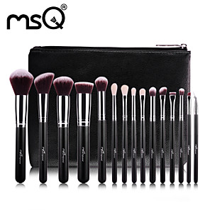 cheap Makeup Brush Sets-15 Piece Makeup Brushes Set Premium Synthetic Goat Hairs Brushes Foundation Blending Blush Face Eyeliner Shadow Brow Concealer Lip Cosmetic Brushes Kit with Cosmetic Bag