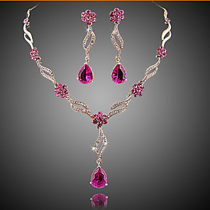 cheap Jewelry Sets-Amethyst Jewelry Set Pear Cut Ladies Party Fashion Elegant everyday Cubic Zirconia Earrings Jewelry Gold / Pink For Wedding Party Special Occasion Anniversary Birthday Gift / Necklace