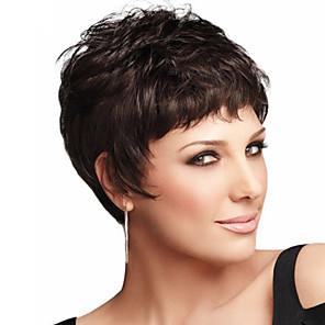 cheap Human Hair Capless Wigs-Human Hair Wig Wavy Short Hairstyles 2020 Berry Wavy Capless Dark Brown / Dark Auburn Strawberry Blonde / Bleach Blonde Beige Blonde / Bleach Blonde