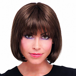 cheap Synthetic Trendy Wigs-Human Hair Wig Straight Short Hairstyles 2020 Straight Capless Dark Brown / Dark Auburn Beige Blonde / Bleach Blonde Auburn Brown / Bleach Blonde