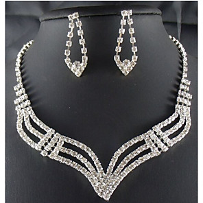 cheap Fascinators-Jewelry Set Ladies Party Fashion Cubic Zirconia Imitation Diamond Earrings Jewelry White For Party Special Occasion Anniversary Birthday Gift / Necklace