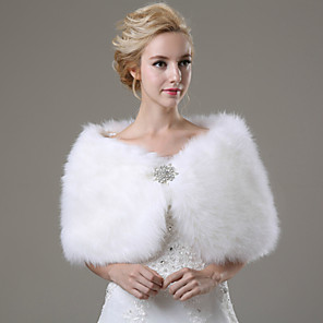 cheap Wedding Wraps-Sleeveless Shawls Faux Fur Wedding / Party Evening / Casual Wedding  Wraps / Fur Wraps With Rhinestone