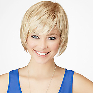 cheap Synthetic Lace Wigs-Human Hair Wig Straight Short Hairstyles 2020 Straight Capless Dark Brown / Dark Auburn Strawberry Blonde / Bleach Blonde Beige Blonde / Bleach Blonde