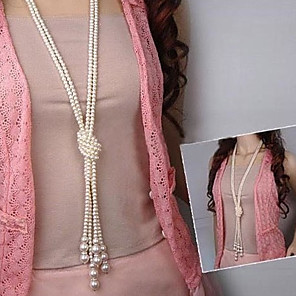 cheap Necklaces-Women's Pearl Y Necklace Layered Necklace Layered Lariat Knot Ladies Asian Fashion Multi Layer Pearl Imitation Pearl White Necklace Jewelry For Party Daily Casual / Pearl Necklace / Long Necklace