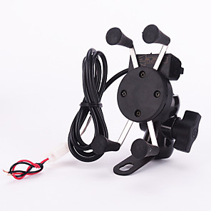 cheap Mounts & Holders-New 12v X-Grip Motorcycle Scooter Cell Phone Cradle Holder, 5V 2.1A USB port Car Charger for iPhone Samsung Smart Phones