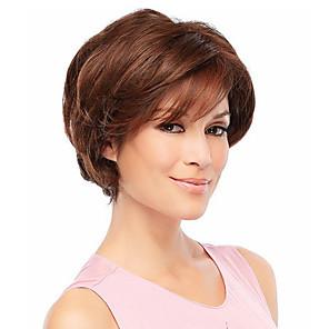 cheap Synthetic Trendy Wigs-Human Hair Blend Wig Wavy Short Hairstyles 2020 Wavy Capless Dark Brown / Dark Auburn Strawberry Blonde / Bleach Blonde Beige Blonde / Bleach Blonde
