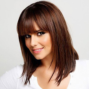 cheap Synthetic Trendy Wigs-Human Hair Blend Wig Straight Neat Bang With Bangs Straight Capless Women's Dark Brown / Dark Auburn Strawberry Blonde / Bleach Blonde Golden Brown / Bleach Blonde