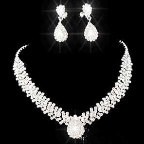 cheap Jewelry Sets-Crystal Jewelry Set Pendant Necklace Tassel Pear Cut Drop Ladies Party Fashion Elegant everyday Cubic Zirconia Imitation Diamond Earrings Jewelry White For Party Special Occasion Anniversary Birthday