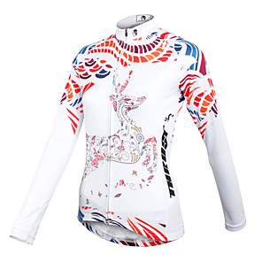 cheap Cycling Jersey & Shorts / Pants Sets-ILPALADINO Women's Long Sleeve Cycling Jersey Winter Fleece White Floral Botanical Plus Size Bike Jersey Top Mountain Bike MTB Road Bike Cycling Breathable Quick Dry Sports Clothing Apparel