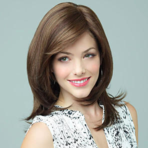 cheap Synthetic Trendy Wigs-Human Hair Blend Wig Wavy Wavy Capless Dark Brown / Dark Auburn Beige Blonde / Bleach Blonde Dark Brown